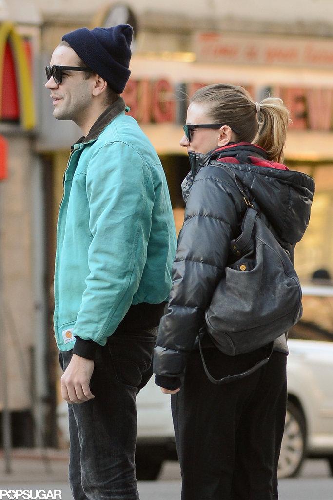Scarlett Johansson and Romain Dauriac walked through the East Village.