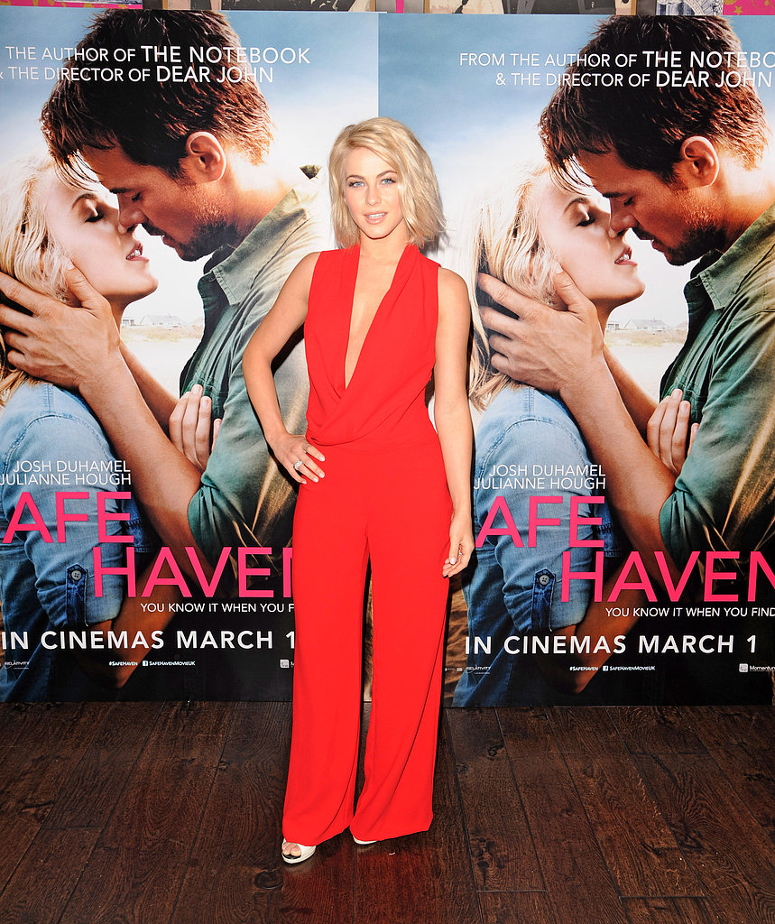 Julianne Hough stepped out in a bright red jumpsuit for a Safe Haven photocall in London.