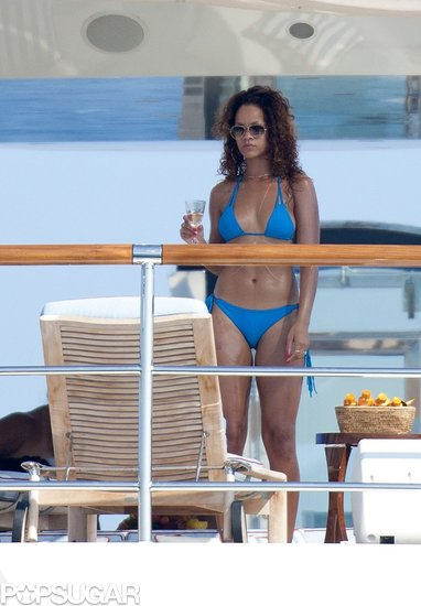 Rihanna played on a yacht in a bikini off the coast of France during August 2011.