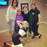 Julianne Hough struck a scandalous pose behind the scenes of Chelsea Lately. Source: Instagram user juleshough