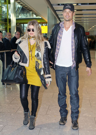 Josh Duhamel and pregnant Fergie arrived in London.
