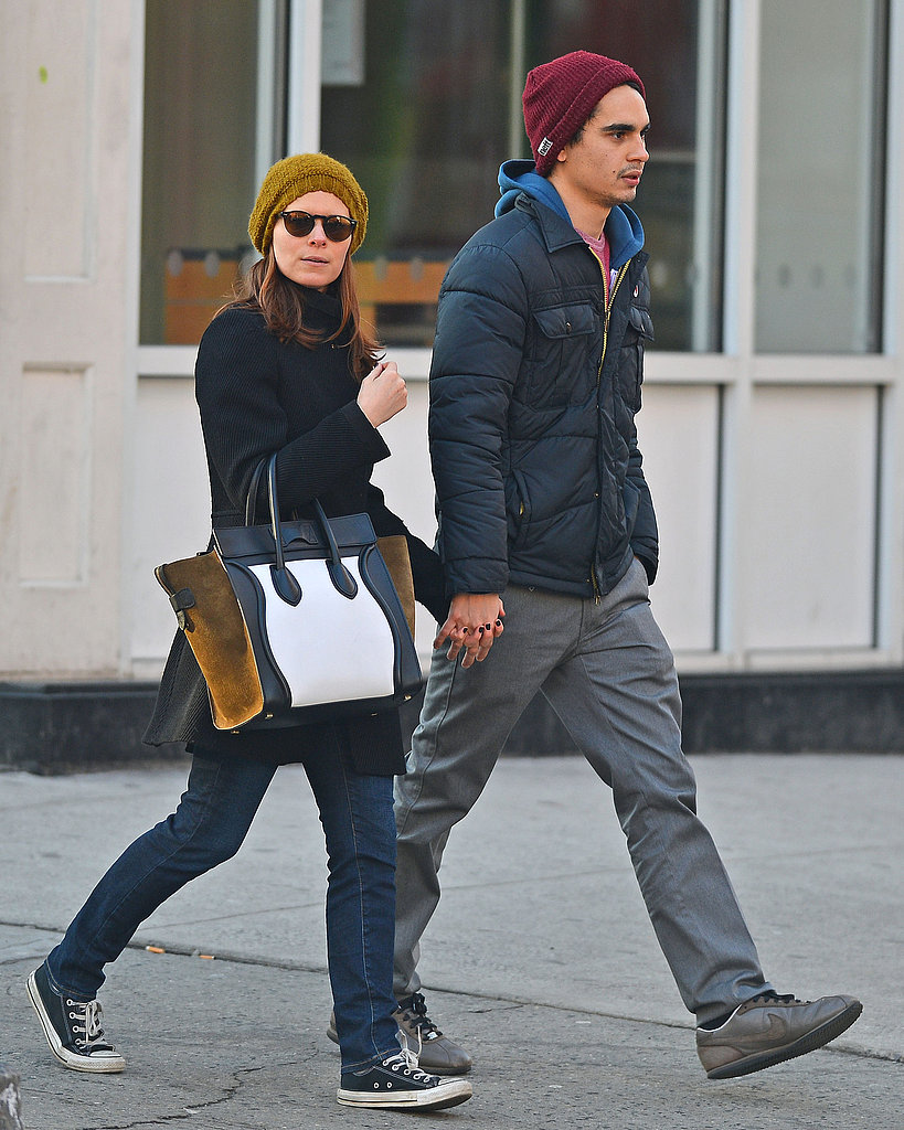Kate Mara's colorblocked Céline luggage tote livened up her sporty Winter look in NYC.