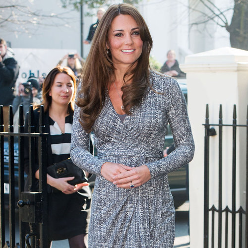 Pregnant Kate Middleton in Gray Wrap Dress in London