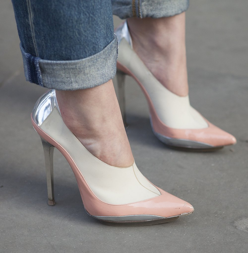We love the colorblock effect on these modern pumps.