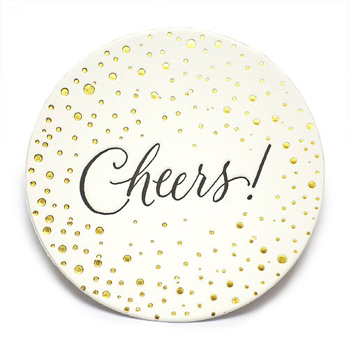 Give guests a place to rest their cocktails and bubbly with these celebratory coasters ($26 for 15).