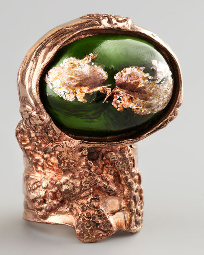 Yves Saint Laurent Green Glass Arty Ring, Rose Golden