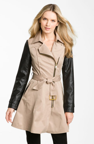 bebe Mixed Media Trench Coat