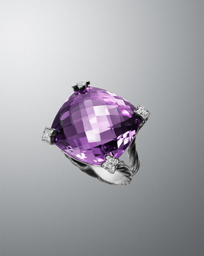 David Yurman 20mm Amethyst Cushion on Point Ring
