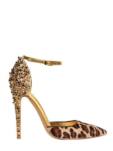 Dsquared - 110mm Lalique Pony Leopard Studs Pumps