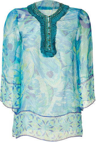 Matthew Williamson Escape Aqua embellished Sheer Silk Tunic