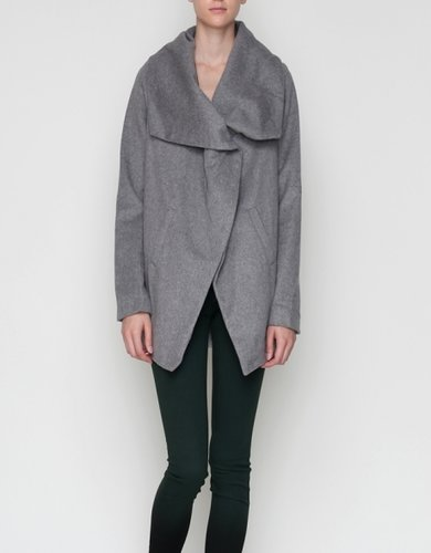 Shawl Collar Coat In Grey