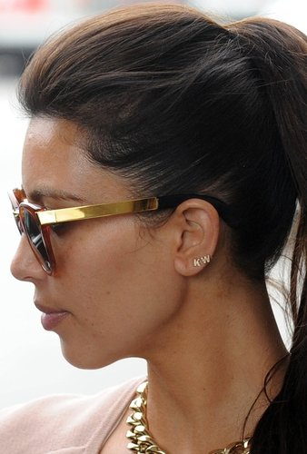Sugar Bean Single Initial Earring Stud in Gold as Seen On Kim Kardashian