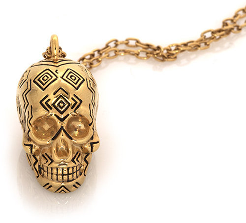 House of Harlow 1960 Jewelry Engraved Skull Pendant