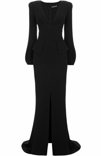 Black Bell-Sleeve Floor Length Gown
