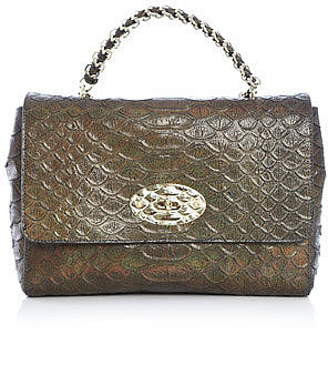 Mulberry Lily metallic snake-print bag