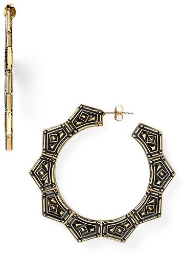 Belle Noel 14KT Plated Gypsy Chic Hoop Earrings