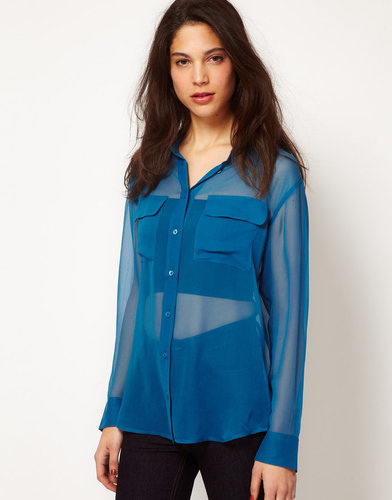 Equipment Sheer Silk Signature Blouse