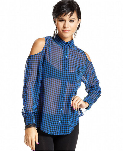 Material Girl Juniors Top, Long Sleeve Sheer Gingham-Print