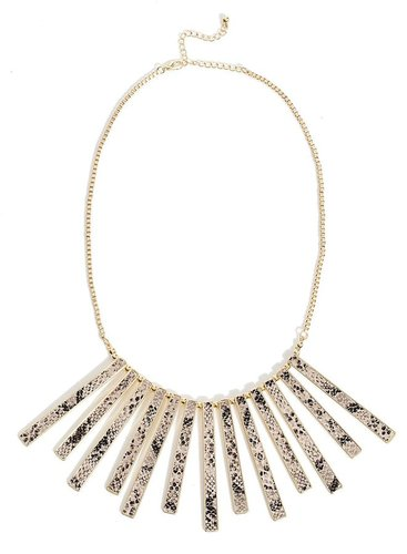 Ariana Snake-Embossed Bib Necklace