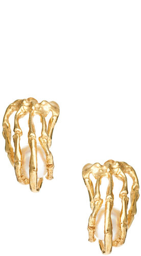 Kyle Hopkins Skeleton Hands With Pearl Stud Earrings