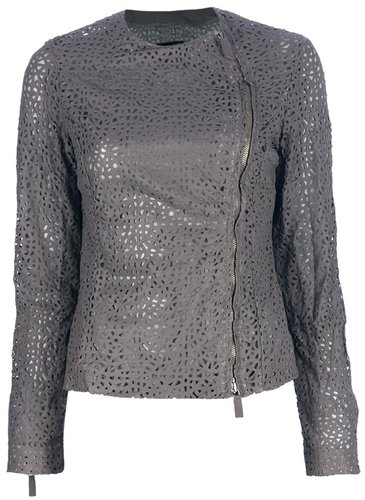 Emporio Armani cut-out leather jacket