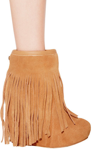 Veleta Suede Wedge Ankle Boot with Fringe in Chestnut - by koolaburra