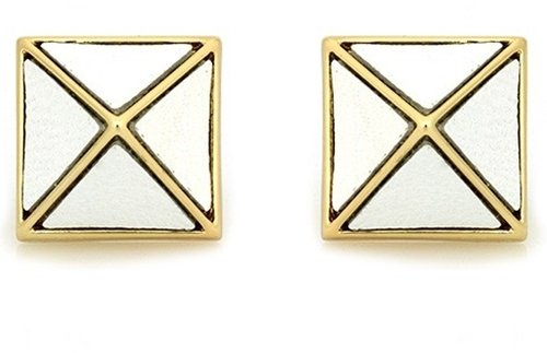 Belle Noel White Leather Pyramid Stud Earrings