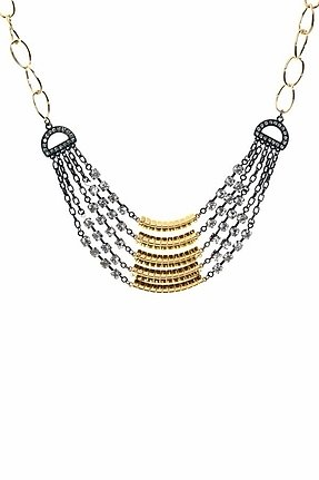 Belle Noel by Kim Kardashian Mixed Metal Layer Necklace in Gold/Gunmetal