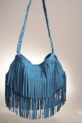 JJ Winters Suede Fringe Bag in Turquoise