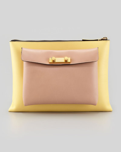 Marni Flat Portfolio Removable-Pocket Bag, Yellow/Rose