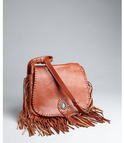Rebecca Minkoff chocolate leather 'Savannah' fringed saddle bag
