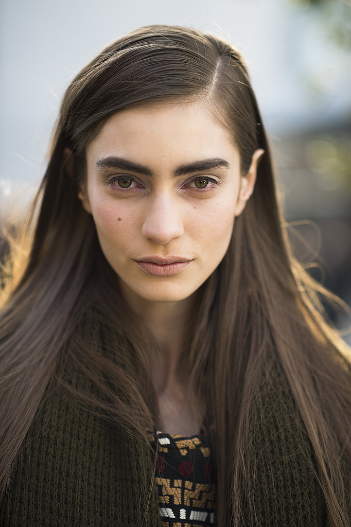 Marine Deleeuw kept it simple with a side part, bold brows, and a flick of eyeliner. Source: Le 21ème | Adam Katz Sinding