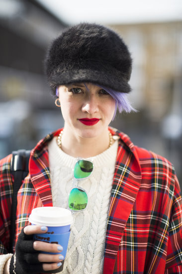 With baby blue on her nails and purple in her hair, blogger Marianne Theodorsen looked cute and cozy. Source: Le 21ème | Adam Katz Sinding