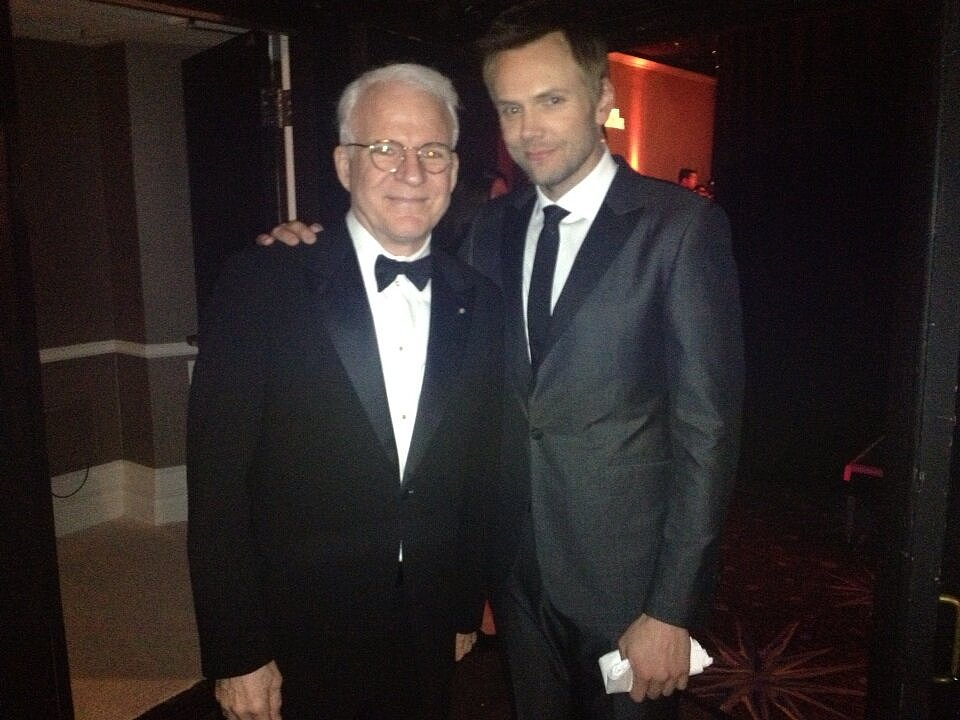 Steve Martin and Joel McHale hung out backstage at the Costume Designers Guild Awards together. Source: Twitter user SteveMartinToGo