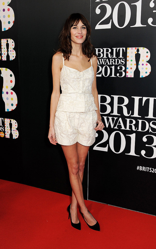 Alexa Chung wore a white ensemble to the Brit Awards in London.