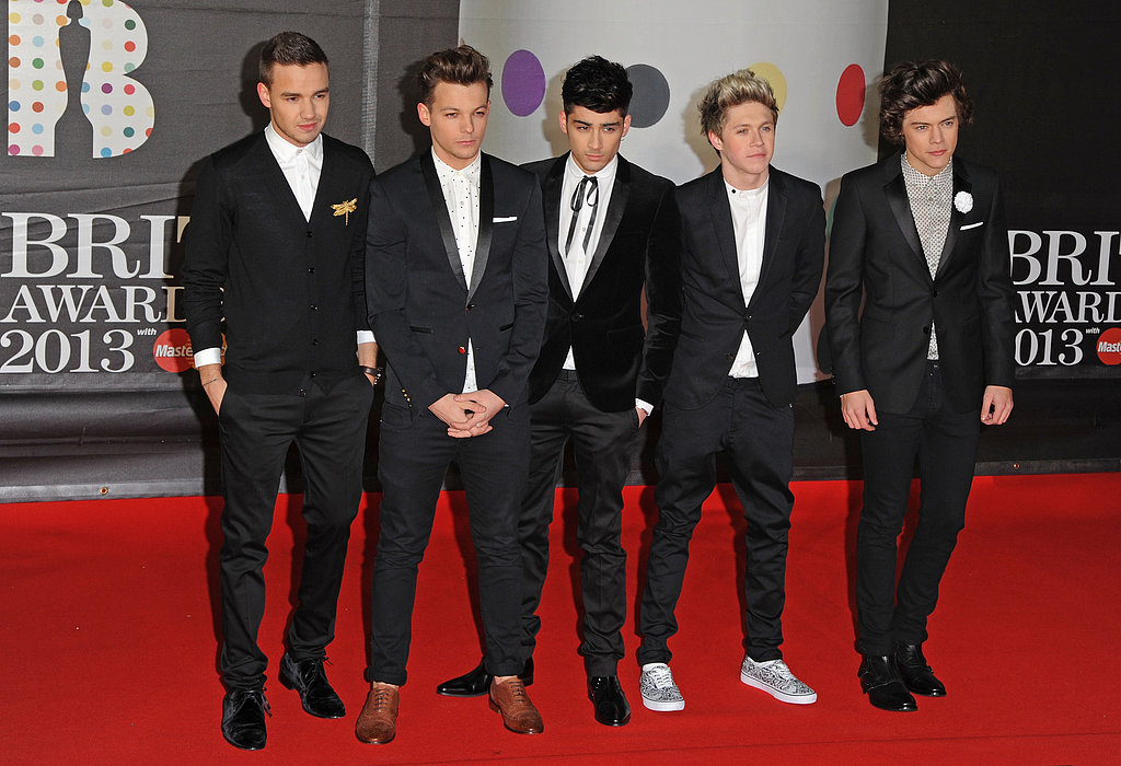 The boys of One Direction posed together on their way into the Brit Awards.