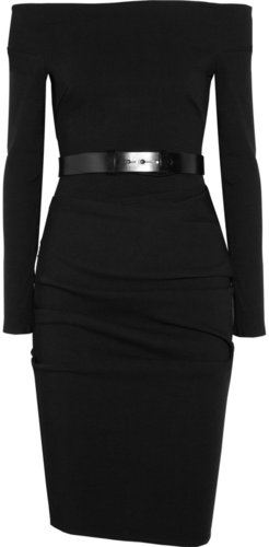 La Petite S***** Belted ruched stretch wool-blend crepe dress
