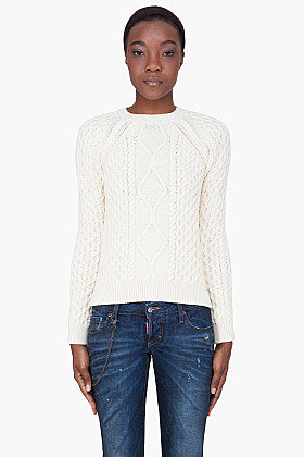 DSQUARED2 Cream Wool Cable Knit Sweater