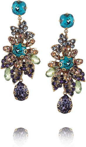Bijoux Heart 24-karat gold-plated Swarovski crystal earrings