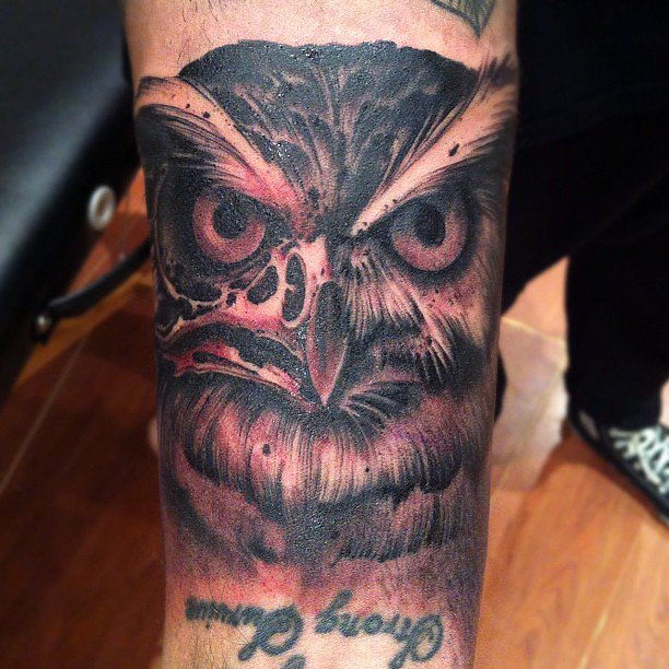 This artfully drawn owl by The Family Business Tattoo Shop will keep a watchful eye. Source: Instagram user thefamilybusinesstattoo
