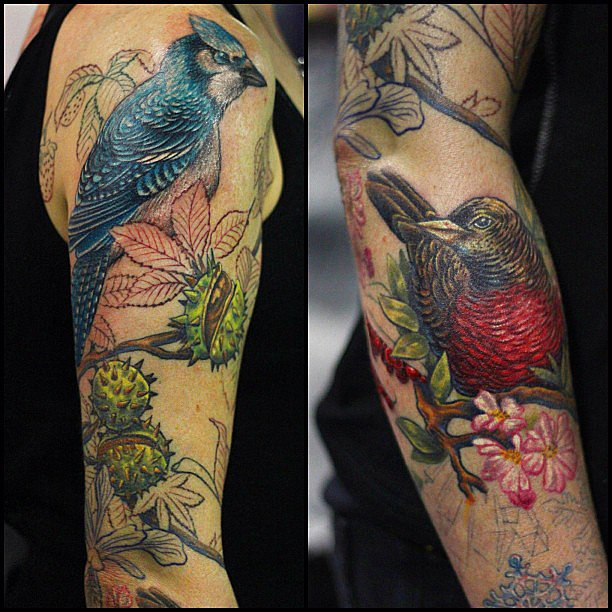 This stunning illustration of a Blue Jay and what looks like a Red-Bellied Pitta was drawn by UK-based Jo Harrison, an awesome female tattoo artist you should follow on Instagram. Source: Instagram user joharrisontattoo