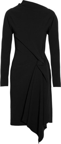 Lanvin Asymmetric wool-blend crepe dress