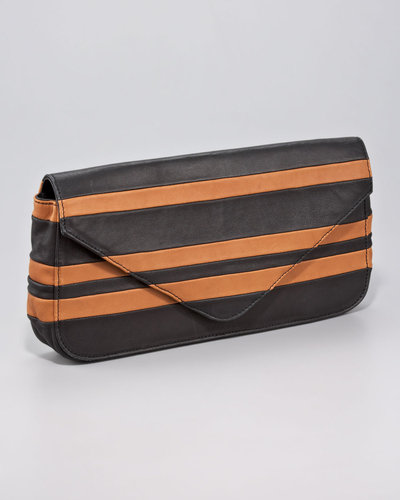 Pour la Victoire Pissa Striped Lambskin Clutch Bag