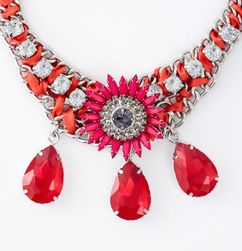 Short Pink Flower and Gem Statement Necklace