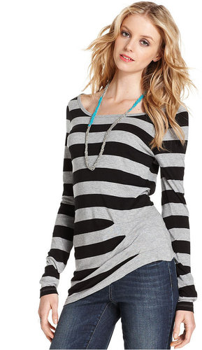 DKNY Jeans Top, Long-Sleeve Striped
