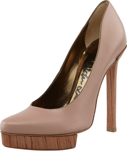 Lanvin Wooden-Heel Calfskin Pump