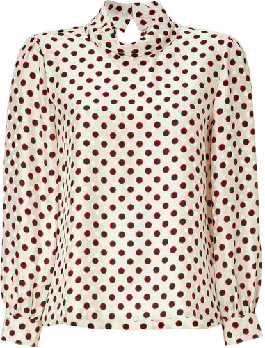 Raoul Cream Multicolor Silk Rolled Neck Blouse