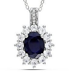 4 Carat Created Blue and White Sapphire & Diamond Sterling Silver Pendant w/Chain