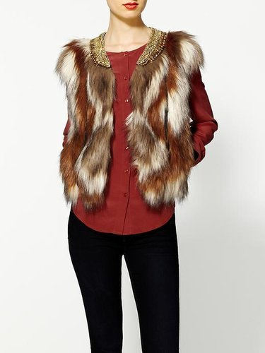 Twelfth Street By Cynthia Vincent Neck Beaded Fur Vest