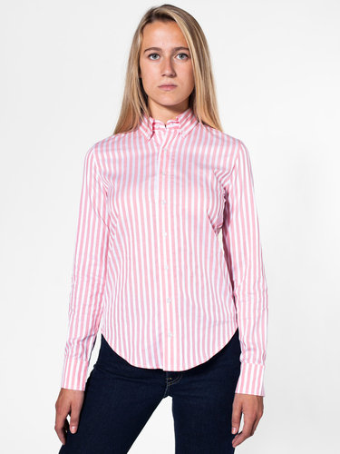 Unisex Striped Long Sleeve Button-Down